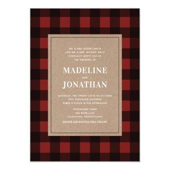 buffalo red plaid wedding invitation