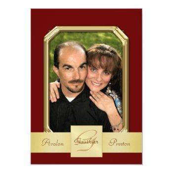 burgandy modern photo frame gold ribbon invitation