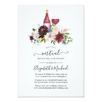 Small Burgundy And Blush Wine Themed Virtual Wedding Invitation Front View