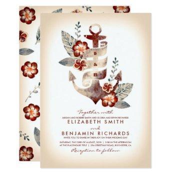 burgundy and champagne nautical beach wedding invitation