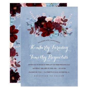 burgundy and dusty blue floral elegant wedding invitation