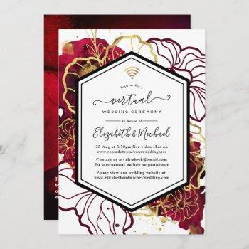burgundy and gold abstract floral virtual wedding invitation