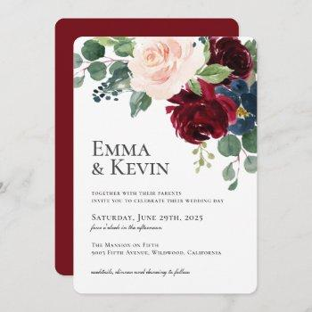 burgundy blush and navy floral wedding invitation