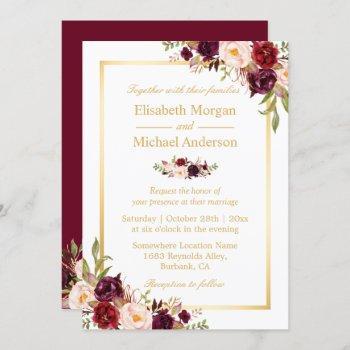 burgundy blush bloom floral gold frame wedding invitation