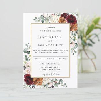 burgundy blush burnt orange ivory floral wedding invitation