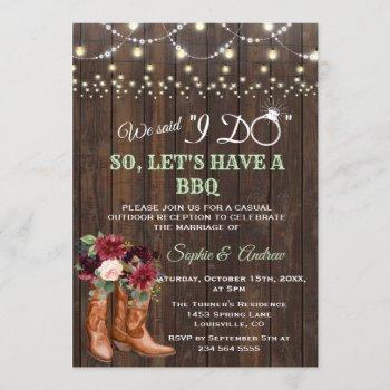 burgundy blush floral cowboy boots after i do bbq invitation
