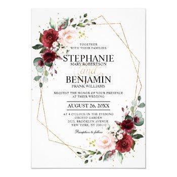 burgundy blush floral geometric wedding invitation