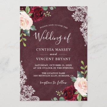 burgundy blush floral lace autumn fall wedding invitation