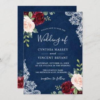 burgundy blush floral lace navy blue wedding invitation