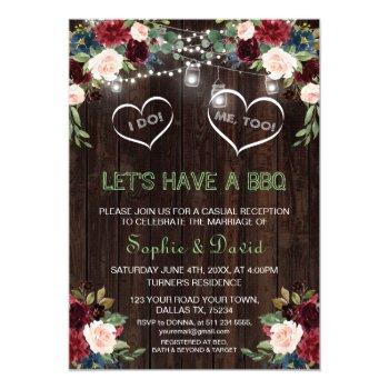 burgundy blush floral lights wood i do bbq invitation