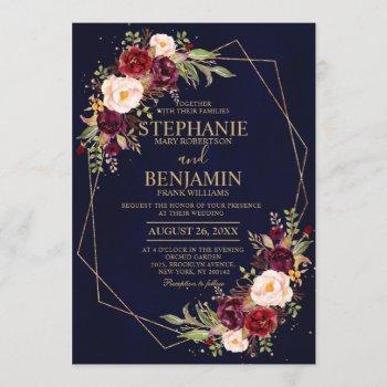 burgundy blush floral modern geometric wedding invitation