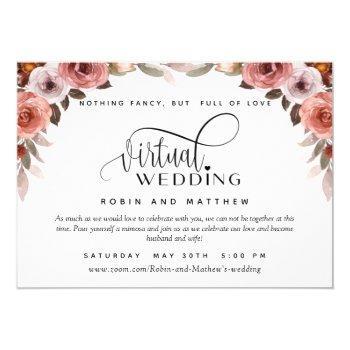 burgundy blush floral, online virtual wedding invitation