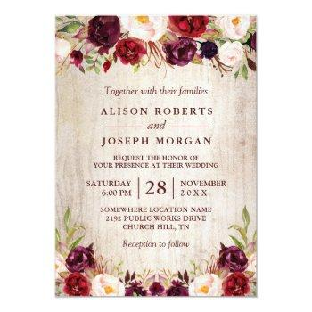 Small Burgundy Blush Floral Rustic Barn Wood Wedding Invitation Front View