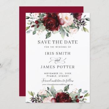 burgundy blush floral wedding save the date card
