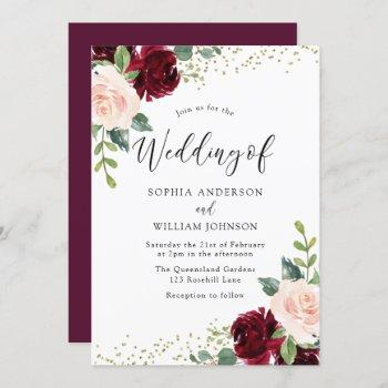 burgundy & blush flowers glitter wedding invitation