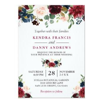 Small Burgundy Blush Navy Blue Floral Botanical Wedding Invitation Front View