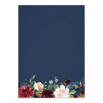 Small Burgundy Blush Navy Blue Floral Botanical Wedding Invitation Back View