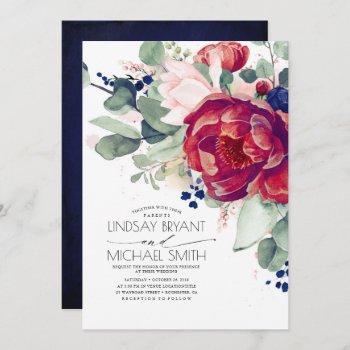 burgundy blush navy blue floral elegant wedding invitation