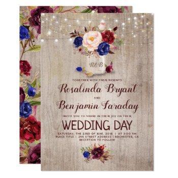 burgundy blush navy blue floral rustic wedding invitation