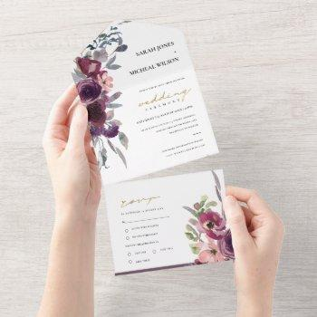 burgundy blush peach green watercolor floral all in one invitation
