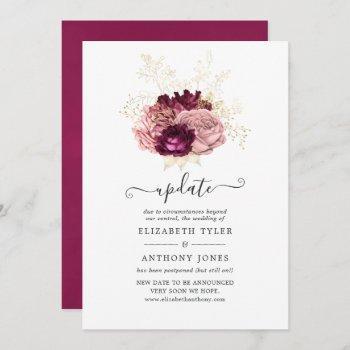 burgundy, blush pink and gold wedding update invitation