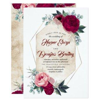 burgundy blush pink gold floral geometric wedding invitation
