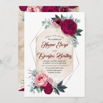 burgundy blush pink gold floral geometric wedding invitation
