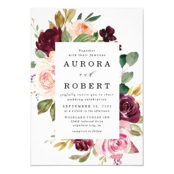 burgundy blush pink peach gold floral boho wedding invitation