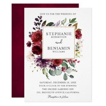 burgundy blush watercolor floral wedding invitation