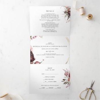 burgundy boho floral wedding all in one tri-fold