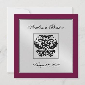 burgundy damask wedding crest invitation