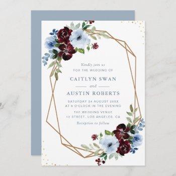 burgundy dusty blue floral geometric wedding invitation