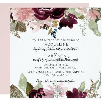 burgundy dusty pink floral elegant foliage wedding invitation