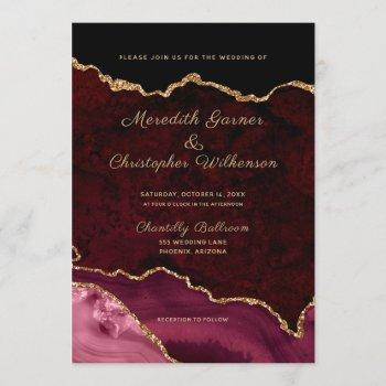 burgundy elegance gold glitter agate wedding invitation