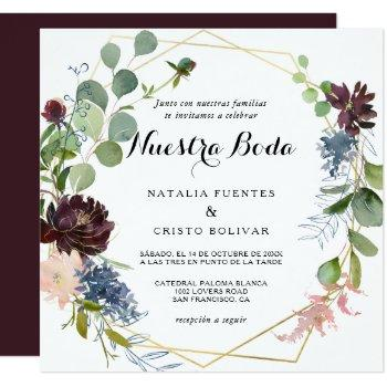 burgundy floral and greenery spanish wedding invitation