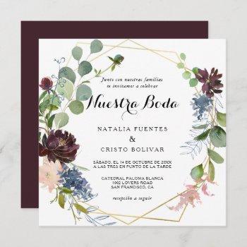 burgundy floral and greenery spanish wedding invitation