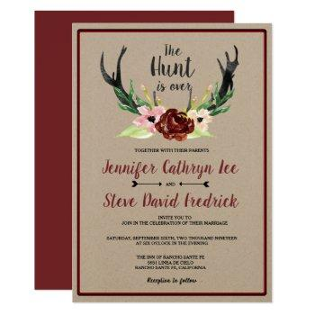 burgundy floral antler boho hunt is over wedding invitation