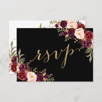 burgundy floral black faux gold foil wedding rsvp invitation