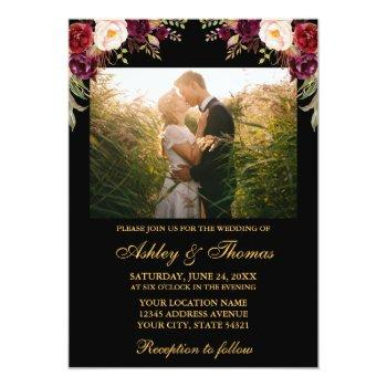 burgundy floral black gold wedding photo invitation