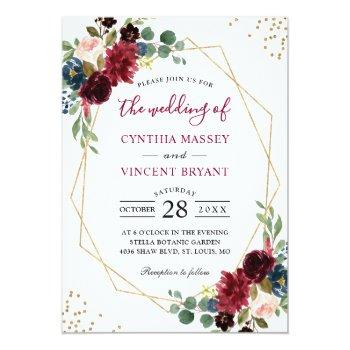 Small Burgundy Floral Blue Gold Modern Geometric Wedding Invitation Front View