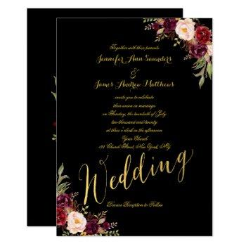 burgundy floral gold foil black wedding invitation