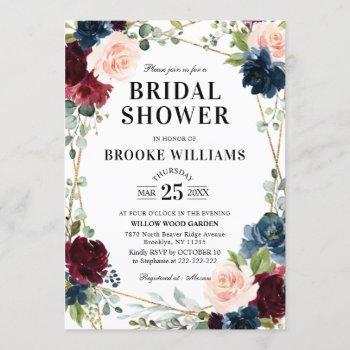 burgundy floral gold navy blue bridal shower invitation