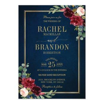 burgundy floral gold navy blue rustic wedding invitation