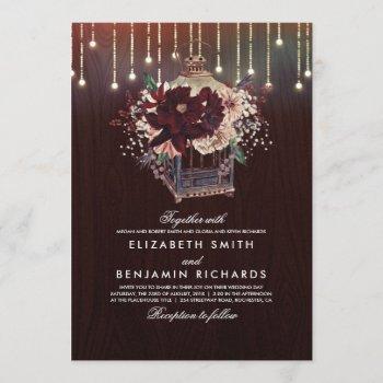 burgundy floral lantern lights rustic wood wedding invitation