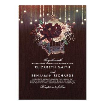 burgundy floral lantern lights rustic wood wedding invitation