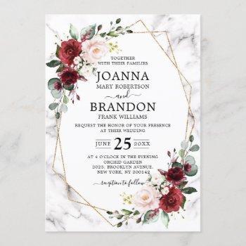 burgundy floral marble geometric wedding invitation