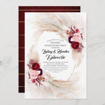 burgundy floral pampas grass wedding anniversary invitation