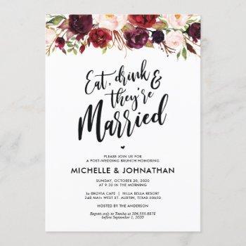 burgundy floral post wedding brunch invitation