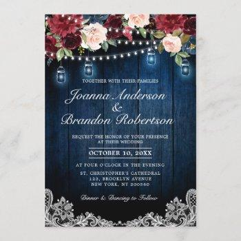 burgundy floral string lights mason jar wedding invitation