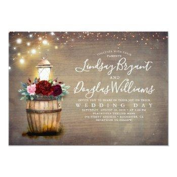 burgundy floral wine barrel lantern rustic wedding invitation